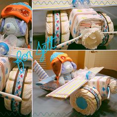Airplane diaper cake for a sweet little boy!