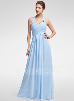 A-Line/Princess Halter Floor-Length Chiffon Bridesmaid Dress With Ruffle #007025356  http://www.jjshouse.com/A-Line-Princess-Halter-Floor-Length-Chiffon-Bridesmaid-Dress-With-Ruffle-007025356-g25356