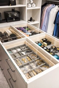Glass topped island for storing accessories with easy viewing access. Custom Closet Design, Walk In Closet Design, Bedroom Closet Design, Master Bedroom Closet, Custom Closets, Room Ideas Bedroom, Closet Designs, Dressing Room Closet, Dressing Room Design