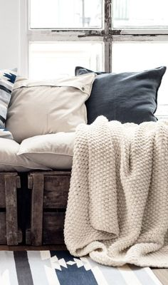 Textiles, soft and comforting, speak of 'home'. Collected ethnic pillows and rugs add pattern and color that is perfect for desert living. Decoration Inspiration, Interior Inspiration, Style At Home, Home Fashion, H & M Home, My New Room, Home Collections, Bedding Collections, Cozy House