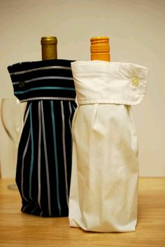 Use men's button up shirt sleeves for wine bottle covers.