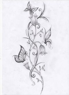 Flower vine and butterfly tattoos tats tatoeage ideeën, kanten tatoeage, ee Flower Vine Tattoos, Butterfly With Flowers Tattoo, Butterfly Tattoo Designs, Dragonfly Tattoo, Butterflies, Tattoo Bird, Lotus Flower, Butterfly Dragon, Tattoo Flowers