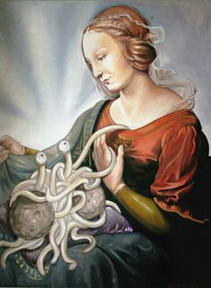 """A beautiful tribute to the Flying Spaghetti Monster. """"Intelligent Design or Pasta Divine,"""" by Kristina Stork."""