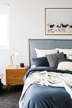 This is a Bedroom Interior Design Ideas. House is a private bedroom and is usually hidden from our guests. However, it is important to her, not only for comfort but also style. Much of our bedroom … Blue Bedroom, Cozy Bedroom, Home Decor Bedroom, Bedroom Furniture, Home Furniture, Bedroom Ideas, Scandinavian Bedroom, Furniture Stores, Scandinavian Design