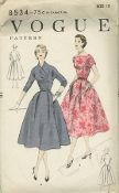 An original ca. 1955 Vogue pattern 8534.  Two styles of bodice front and back.  Full skirt has dart pleats at side fronts with deep pleats either side of centre back inverted pleat.  Pockets under front pleats.  Skirt joins the bodice at waist-line.  Straight neck-line or built up surplice neck-line with released pleats from side front seam.  Below-elbow length and short kimono sleeves.