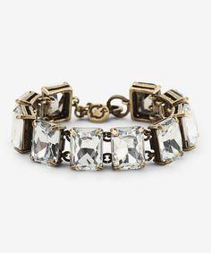 Crystal & Brass Rectangles Bling Bracelet