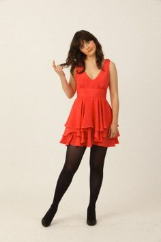 Zooey Deschanel's Red Dress Photoshoot.  Outfit Details: http://wwzdw.com/z/498/ #WWZDW