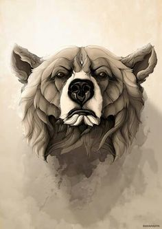 .Bear art #serious #cool #beautiful #simple