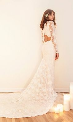 """Bohemian Lace Wedding Dress Backless Gown- """"Brit"""" by Daughters Of Simone Available in The Netherlands at @wildatheartbridal www.wildatheartbridal.com"""