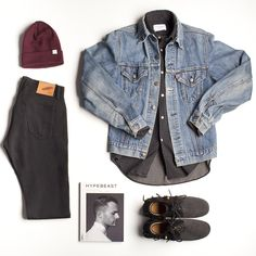 """stayclassyhouston: Class Photos - """"Back in Black"""" kit Details: Beanie by Norse Projects, shirt by Our Legacy, and denim pants by Rogue Territory (all available at The Class Room) Vintage denim jacket and sneakers from private collection"""
