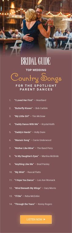 Country Songs to Play at Your Wedding Get top song recommendations for the father-daughter dance and mother-son dance!Get top song recommendations for the father-daughter dance and mother-son dance! Wedding Songs 2017, Wedding Playlist, Wedding Music, Wedding Tips, Wedding Reception, Wedding Planning, Dream Wedding, Wedding Quotes, Trendy Wedding