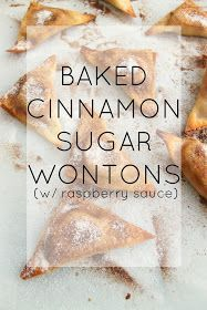 such an easy recipe! baked cinnamon sugar cream cheese wontons with a tangy raspberry dipping sauce! such an easy recipe! baked cinnamon sugar cream cheese wontons with a tangy raspberry dipping sauce! Wonton Recipes, Egg Roll Recipes, Appetizer Recipes, Baking Recipes, Dessert Recipes, Eggroll Wrapper Recipes, Italian Appetizers, Recipes With Wonton Wrappers, Dessert Cups