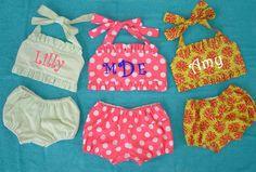 Personalized Monogrammed Handmade Infant Toddler Girl's Two-Piece Bikini Swimsuit - Girl's Swimsuit, Baby Swimsuit, Toddler Swimsuit