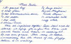 French Delicacies Essentials - Some Uncomplicated Strategies For Newbies Handwritten Recipe Card For Meatballs Retro Recipes, Old Recipes, Vintage Recipes, Cookbook Recipes, Meat Recipes, Cooking Recipes, Recipies, Family Recipes, Casserole Recipes
