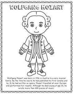 wolfgang mozart famous classical music composer informational text coloring page use this activity sheet