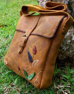 Leaves Messenger bag, handcrafted leather