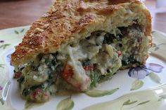 ITALIAN SAUSAGE PIE:1 1/2 lbs sweet or hot bulk Italian sausage;1 C red pepper, chopped;1/2 C onion, chopped;2 cloves garlic, minced;1 – 16oz pkg hot roll mix; 5 eggs;3 C shredded mozzarella;1/2 carton (15 oz) ricotta cheese(You can use the whole carton, if you wish.);1/2 of a 10 oz. package frozen chopped spinach, thawed and well drained;1 egg;1 tbsp water;1 tbsp Parmesan cheese. OINK!  OINK! OINK! OINK!