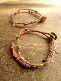 Gemstone Candy Fine Bracelet Anklet / Hemp/ Tribal/ by Temple33, $20.00