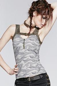 Camouflage Top mit Schnalle & Zipper