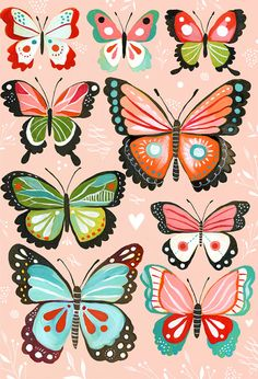 Butterfly Collection  Pink by thewheatfield on Etsy