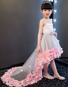 Shop affordable Sleeveless Pearl Neckline High Low Tulle Dress With Flowers at June Bridals! Over 8000 Chic wedding, bridesmaid, prom dresses & more are on hot sale. Gowns For Girls, Girls Party Dress, Party Wear Dresses, Little Girl Dresses, Girls Dresses, Baby Dresses, Kids Winter Fashion, Kids Fashion, Kids Gown