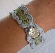 -Vintage Inspired Crochet Bracelet in Blue and Green
