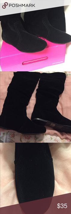 Black knee high suede boots Black suede boots - NWOT never been worn size 8 1/2 Shoes Ankle Boots & Booties