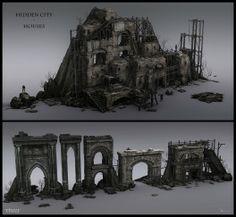 Thief - Hidden city houses & Arch style by MatLat - Mathieu Latour-Duhaime - CGHUB Concept Art World, Game Concept Art, Environment Concept Art, Environment Design, Game Environment, Concept Art Landscape, Fantasy Landscape, Game Level Design, Game Design