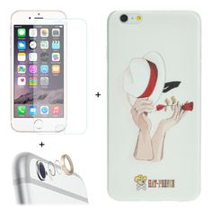 [$3.86] ENKAY Hat-Prince 3 in 1 Creative Character Pattern White TPU Protective Case + 0.26mm 9H+ Surface Hardness 2.5D Explosion-proof Tempered Glass Film + Metal Rear Camera Lens Protective Ring for iPhone 6 Plus & 6s Plus