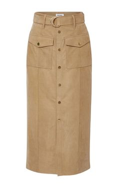 This **Frame Denim** patch pocket skirt is crafted from calf suede and features a button up front, waist belt, and patch pockets with gold hardware.