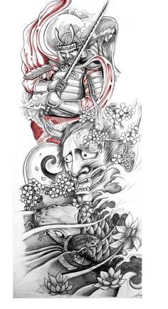Classic Grey Ink Japanese Warrior With Hannya Tattoo Design japanese tattoo designs - Tattoos And Body Art Japanese Tattoo Designs, Japanese Tattoo Art, Japanese Sleeve Tattoos, Full Sleeve Tattoos, Tattoo Sleeve Designs, Tattoo Designs Men, Samurai Tattoo Sleeve, Japanese Art, Japanese Water Tattoo