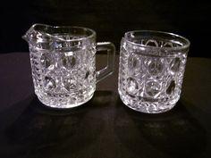 Vintage Federal Glass WINDSOR Clear Cream & Sugar Bowl - Button & Cane Pattern