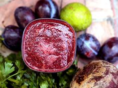 """The sweetness of the beets in this beet smoothie blends perfectly with tartness of lime juice, plus the gingers gives it the """"zing"""" that really brings it all Vegan Gluten Free, Vegan Vegetarian, Plum Juice, Juicer Reviews, Ginger Smoothie, Beets, Smoothies, Lime, Veggies"""