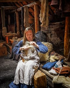 Combing wool at L'Anse aux Meadows