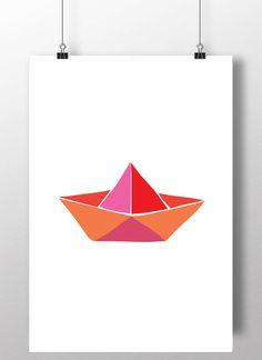 Paper Boat art, paper boat printable, paper boat kids room decor, origami boat…