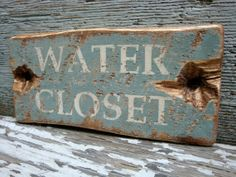 Rustic Distressed Water Closet Wood Bathroom Wood Sign by TheUnpolishedBarn