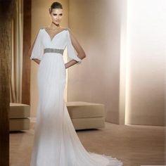 Greek style train sexy wedding dress