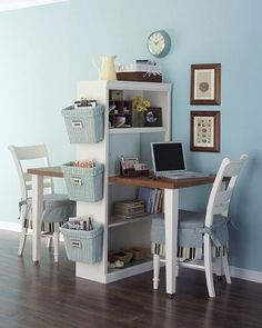Double desk created from an old kitchen table and a bookcase! Totally doable!