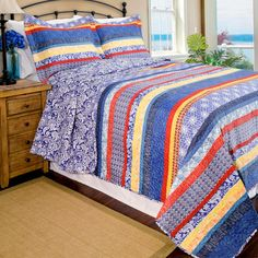 Shop for bohemian bedding at Bed Bath & Beyond. Buy top selling products like Designs Direct Mandal Bedding Collection and Levtex Home Marais Reversible Quilt Set. Shop now! Bed Bath & Beyond, Floral Bedspread, Home Id, Striped Quilt, Bohemian Bedding, King Size Quilt, Contemporary Quilts, Bed Sets, Quilt Sets