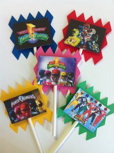24 Power Rangers Cupcake Toppers....Although I'm pretty sure I can make these on my own! (;