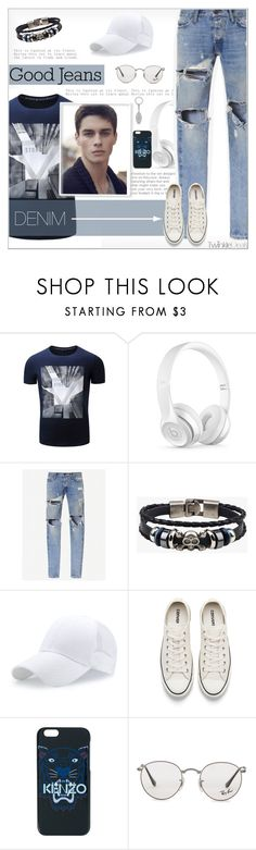 """Tear it Up: Distressed Denim"" by alves-nogueira ❤ liked on Polyvore featuring Beats by Dr. Dre, Converse, Kenzo, Ray-Ban, Mulberry, men's fashion and menswear"