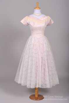 1950 Lilac Lace Vintage Wedding Dress : Mill Crest Vintage
