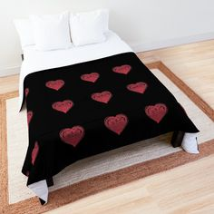 'Red Drawn Heart of Love Romantic Valentines Day' Comforter by Pamela Arsena Boho Comforters, King Size Comforters, Black Wall Decor, Black Wall Art, Floral Comforter, Trendy Home Decor, Beautiful Bedrooms, Square Quilt, Floor Pillows