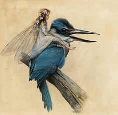 Kingfishers have a special place in my life, a good luck symbol. How sweet to imagine them as Faerie transportation.