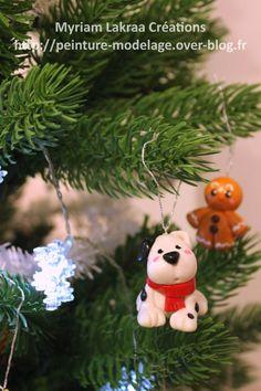 Déco de sapin chien (christmas ornament) - Pâte polymère Fimo (polymer clay) - 2014 - Myriam Lakraa Créations