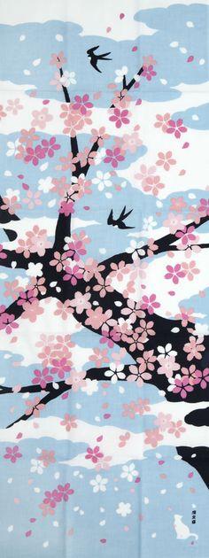 Tenugui Japanese Hand Towel Sakura Cherry Blossoms Design Japanese Textiles, Japanese Patterns, Japanese Fabric, Japanese Prints, Japanese Art, Sakura Cherry Blossom, Cherry Blossoms, Kawaii Diy, Pastel Art