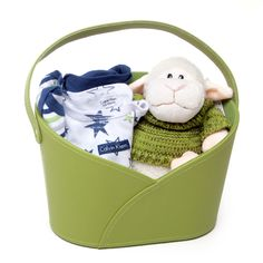 Sheep wearing a knitted jumper in a Green hamper box in faux leather which makes for great storage box. Also includes Calvin Klein outfit.
