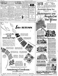 """A 1927 newspaper ad for Sears, Roebuck and Co., published in the Plain Dealer (Cleveland, Ohio), 20 September 1927. Read more on the GenealogyBank blog: """"This Is the House That Sears Built: Historic Sears Kit Homes."""" http://blog.genealogybank.com/this-is-the-house-that-sears-built-historic-sears-kit-homes.html"""