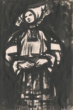 Viliam Chmel - Čičmianka (1948)  - Oravská galéria Classical Art, Darth Vader, Costumes, Faces, Illustrations, Fictional Characters, Dress Up Clothes, Costume, Face