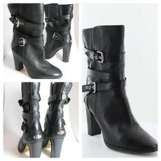 Coach Alexandra Mid Calf Boots! ❤️😘 Coach Alexandra Mid Calf Boots. Size 8.5! Black Pebble Leather with Belted sides! These boots are used and wear is shown in pics. The right boot has a cut about an inch long on the right hand side. Other than that the boots are in great condition!✌🏼️👄 Coach Shoes Heeled Boots